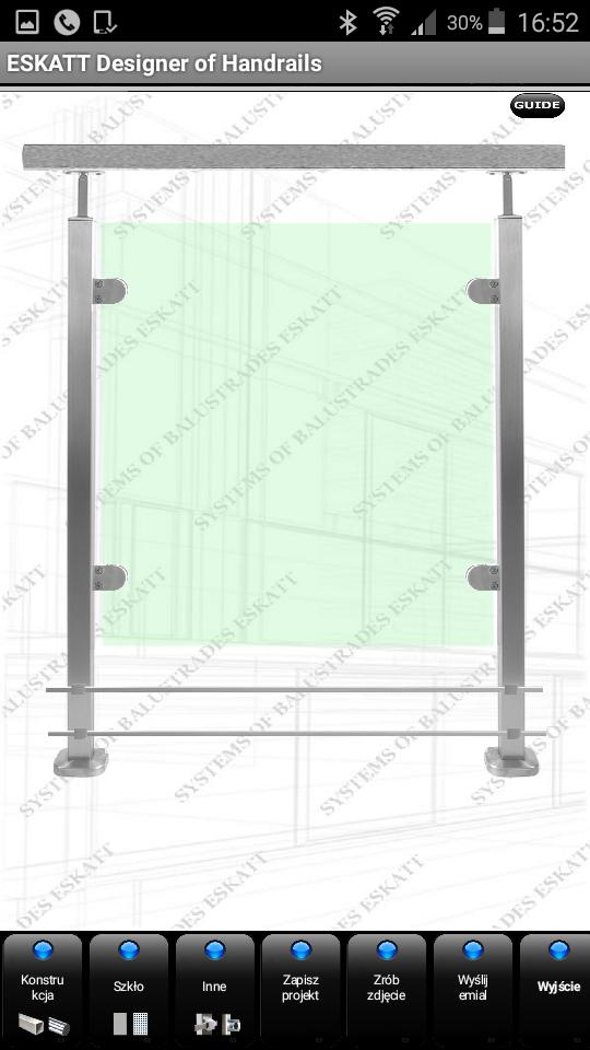 Projekt balustrady szklanej